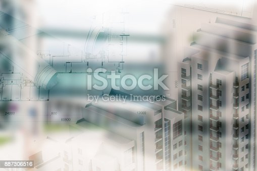 885968454istockphoto Real estate concept, double expo blueprint and keys 887306516