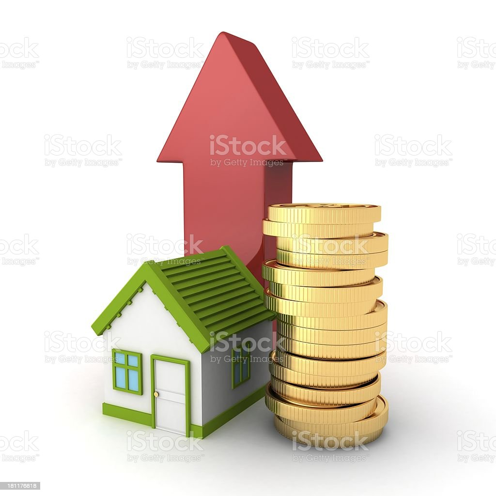 real estate concept house with golden coins and rising arrow stock photo