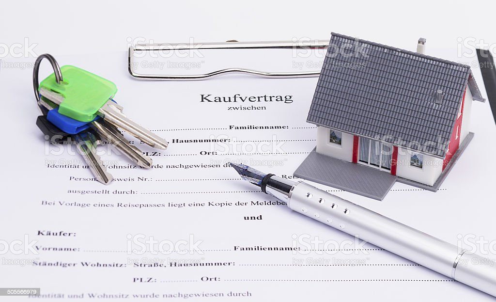 Real estate contract stock photo