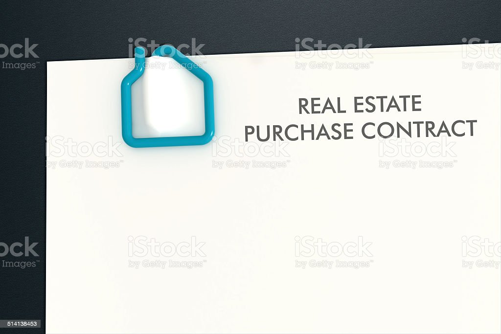 real estate contract template with house shape paper clip isolat stock photo