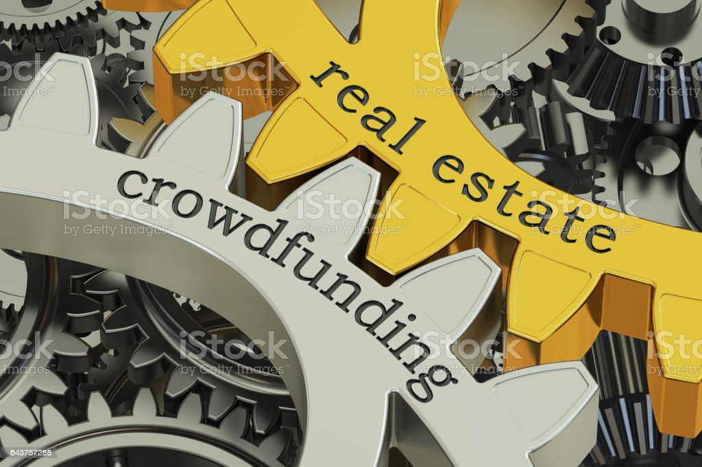 real estate crowdfunding concept on the gearwheels, 3D rendering stock photo