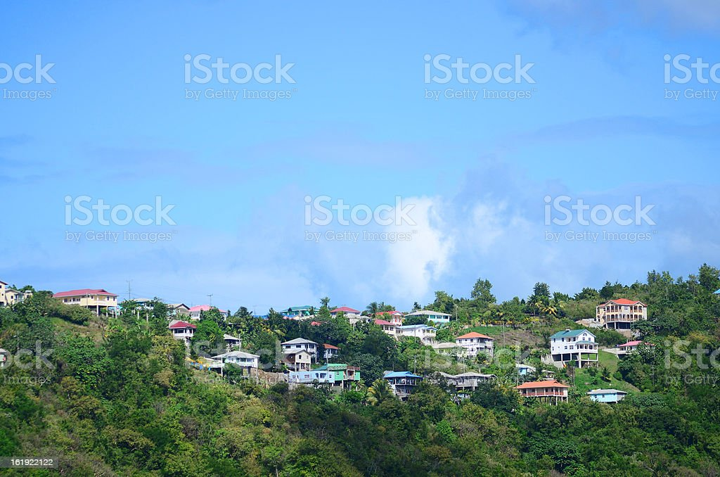 real estate development; beautiful homes high on mountain ridge stock photo