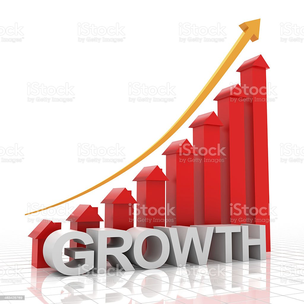 Real estate growth chart, 3d render royalty-free stock photo