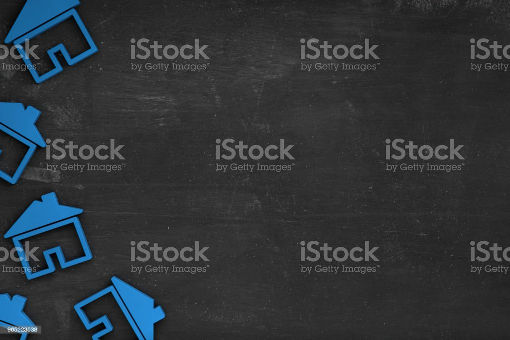 Real Estate House on Blackboard Background Copy Space zbiór zdjęć royalty-free