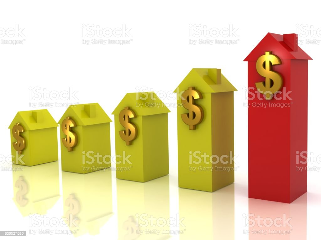Real estate house price graph dollar symbol stock photo