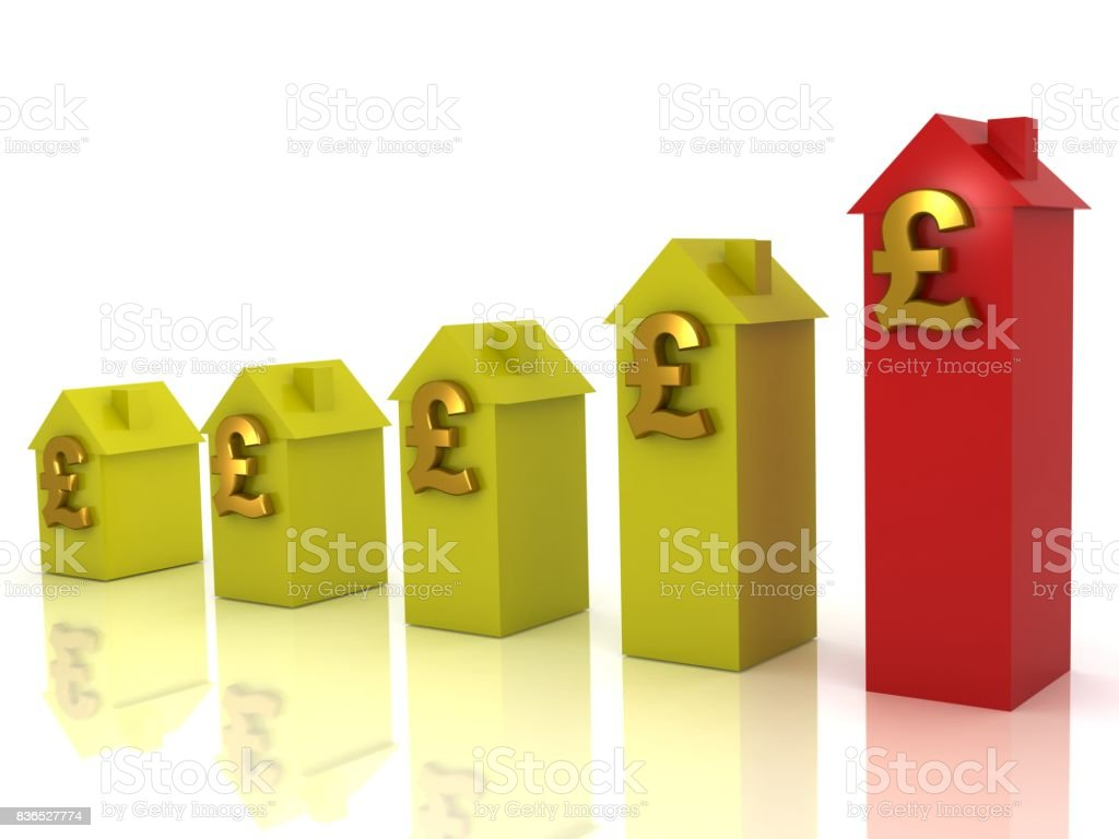 Real estate house price graph uk pound symbol stock photo