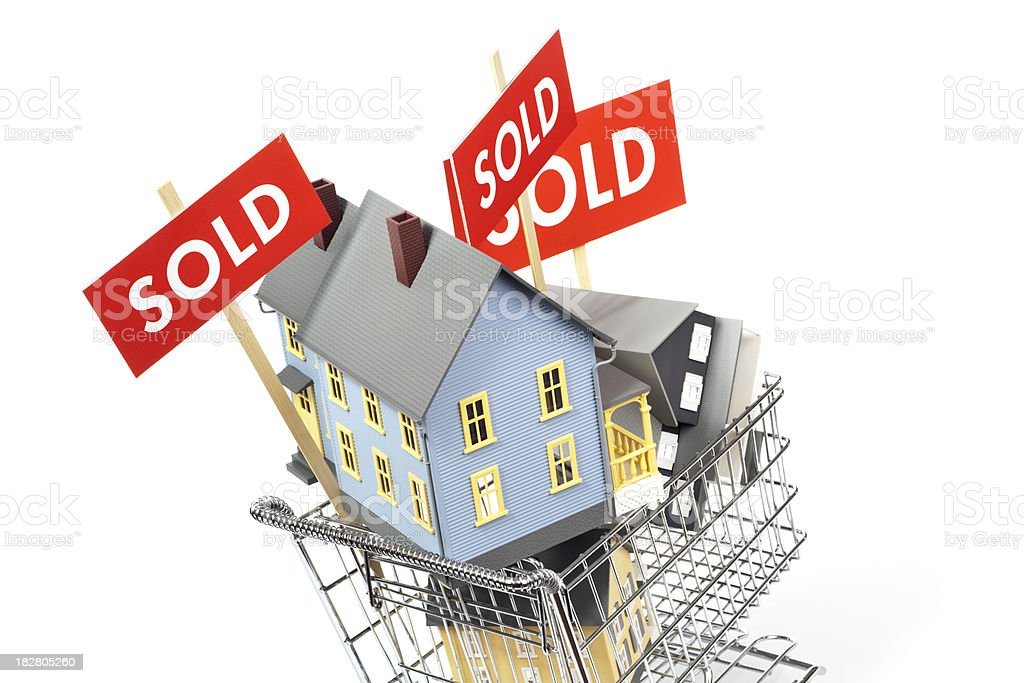 Real Estate House Shopping and Selling with SOLD Sign royalty-free stock photo