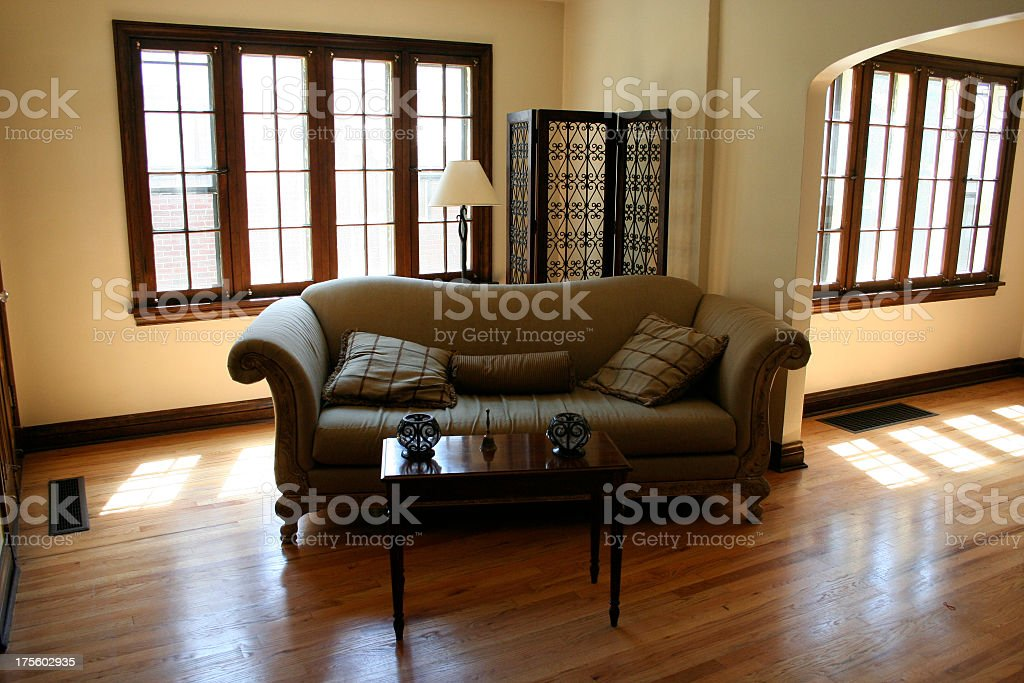 Real Estate Interior: Couch, Wood Floors, Sunlight royalty-free stock photo