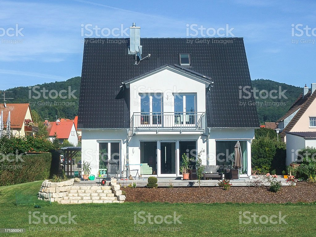 real estate isolated home with garden stock photo