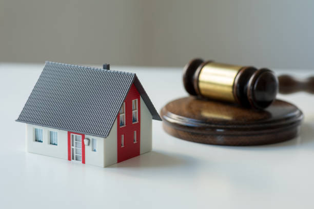 Real estate law and house auction stock photo