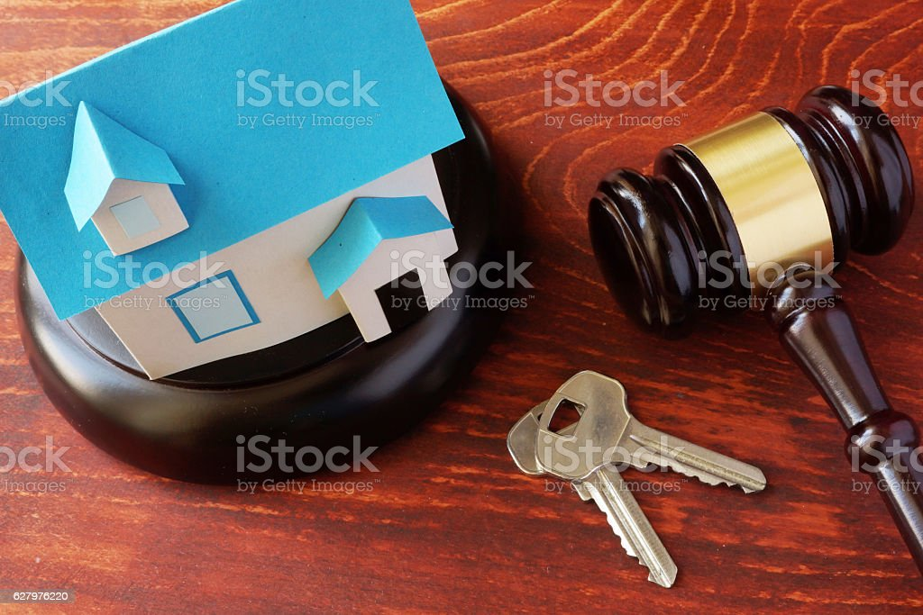 Real Estate Law concept.  Model of house and a gavel. stock photo