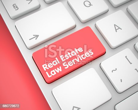 494762574istockphoto Real Estate Law Services - Text on the Red Keyboard Keypad. 3D 680729672