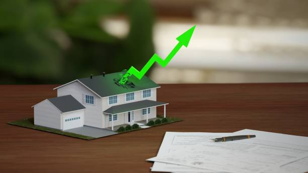 Real estate market boom, soaring prices. Fancy suburban house with rising green arrow. Digital 3D render. Real estate market boom, soaring prices. Fancy suburban house with rising green arrow. Digital 3D render. mortgages and loans stock pictures, royalty-free photos & images