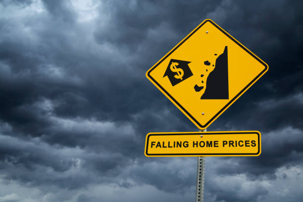 real estate market crash - falling home prices - mphillips007 stock pictures, royalty-free photos & images
