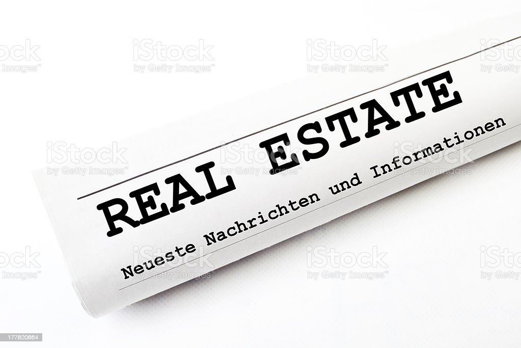 Real Estate newspaper stock photo