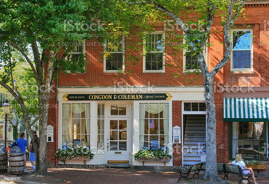Real Estate Office in Red Brick Building, Nantucket, Massachusetts, USA. stock photo