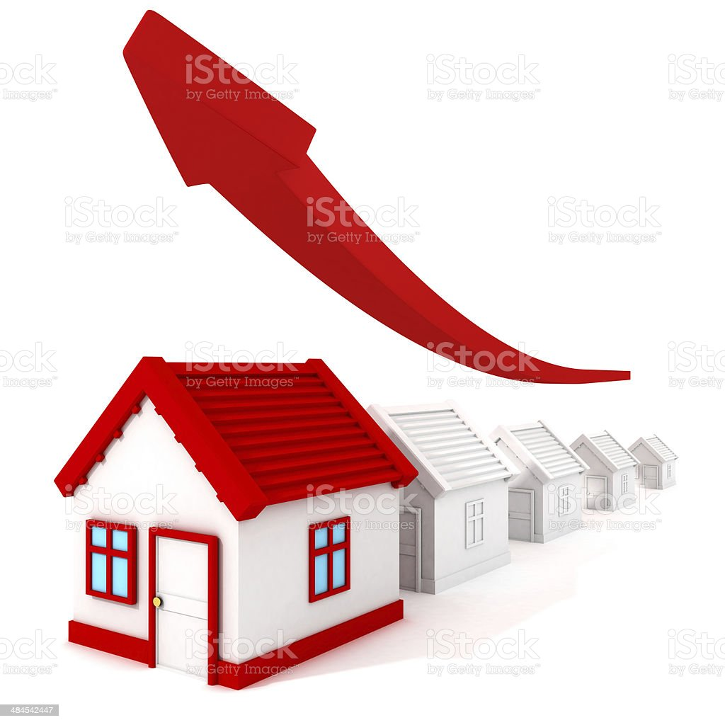 real estate price graph grow up arrow. business concept stock photo