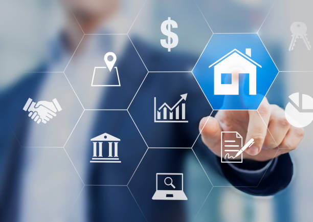 Real estate property management with investor making profit by increasing value and earning rental payment of housing. Finance and business concept with icons of house, bank, contract, cash money stock photo