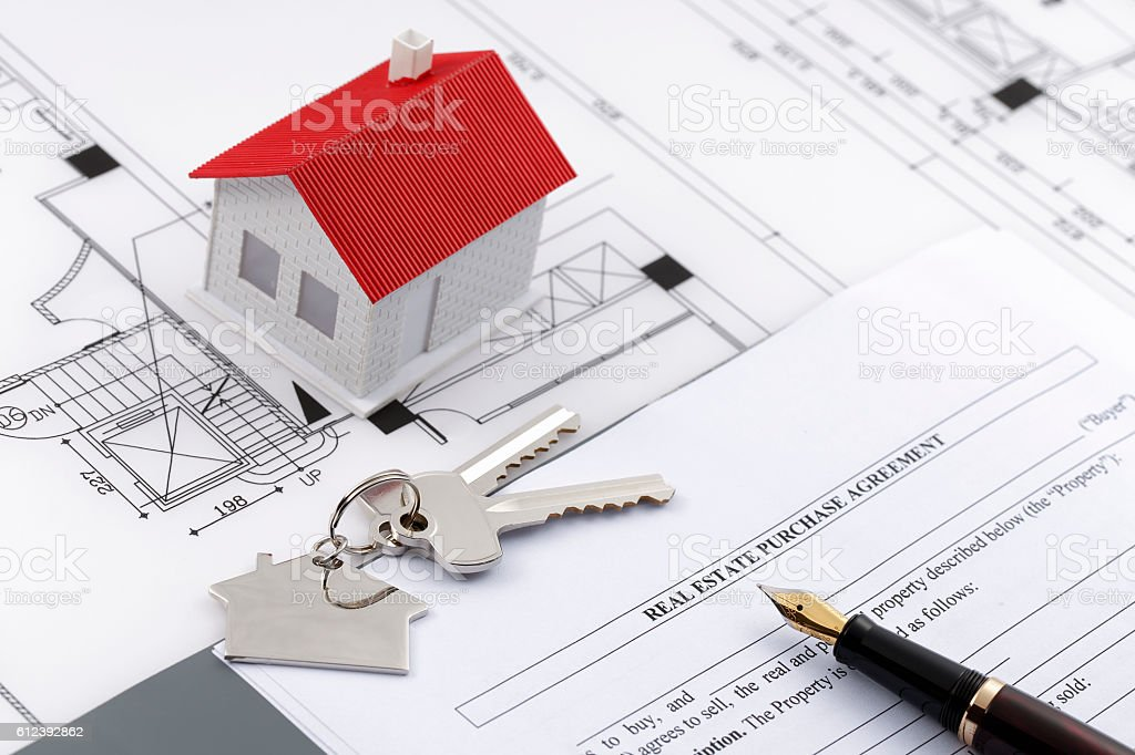 Real estate purchase agreement stock photo