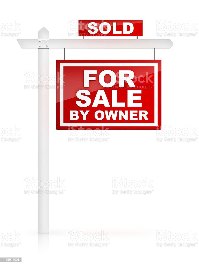 Real Estate Sign For Sale by Owner - SOLD stock photo