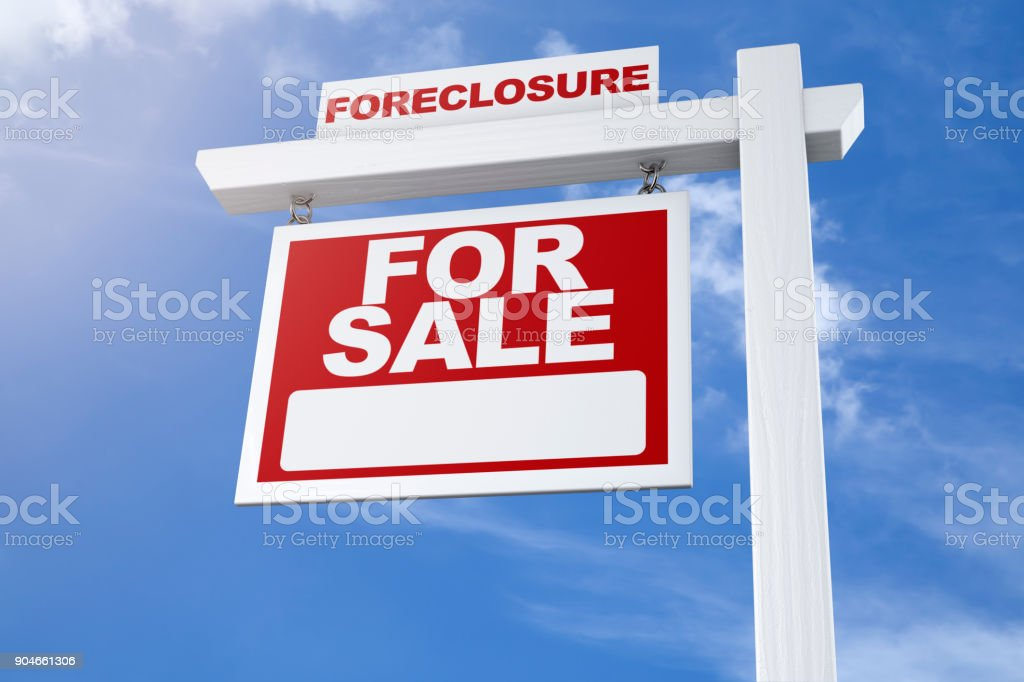 Real Estate Sign For Sale Foreclosure Blue Sky stock photo