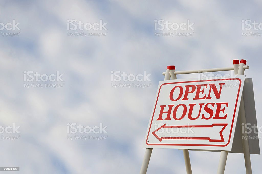A real estate signage of an open house royalty-free stock photo