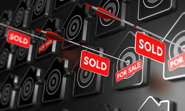 Real Estate Sold Sign Concept. Many houses symbols over black, Three of them are pierced by an arrow in the center of the target. 3D illustration concept of real estate and property search buy single word stock pictures, royalty-free photos & images