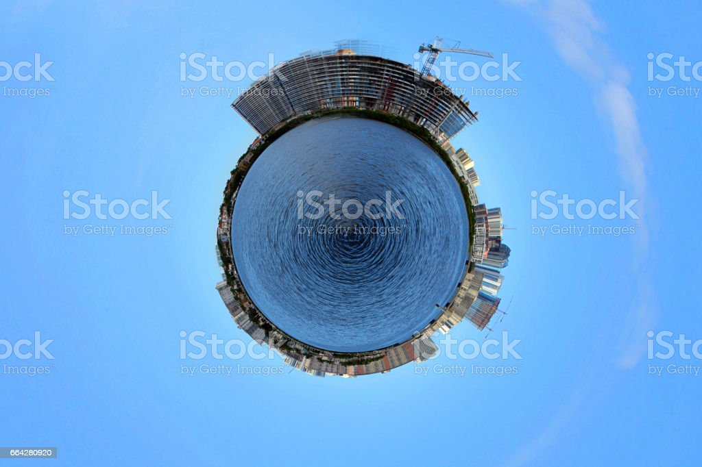 Real Estate Tiny Planet New Development stock photo
