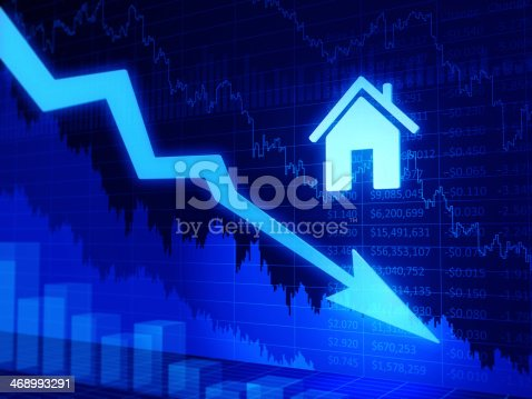 istock Real estate values chart. 3D diagram with home symbol. 468993291