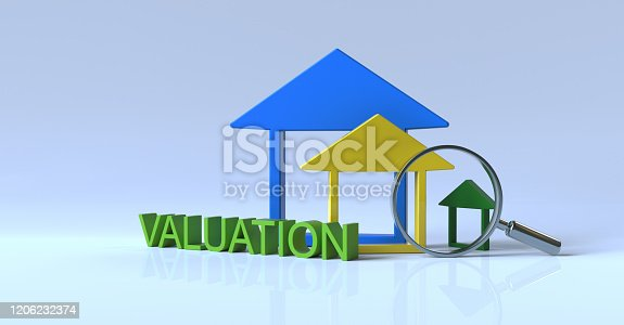 Real estate.Word Valuation and a miniature house