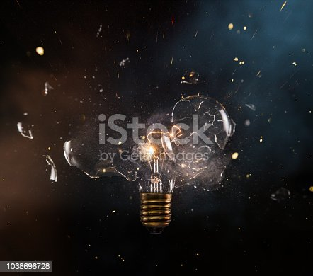 istock Real explosion of vintage electric bulb. 1038696728