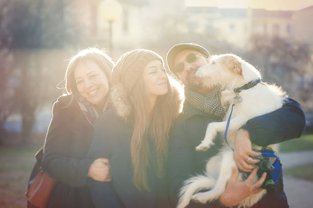 real family with dog in the park - low contrast stock pictures, royalty-free photos & images