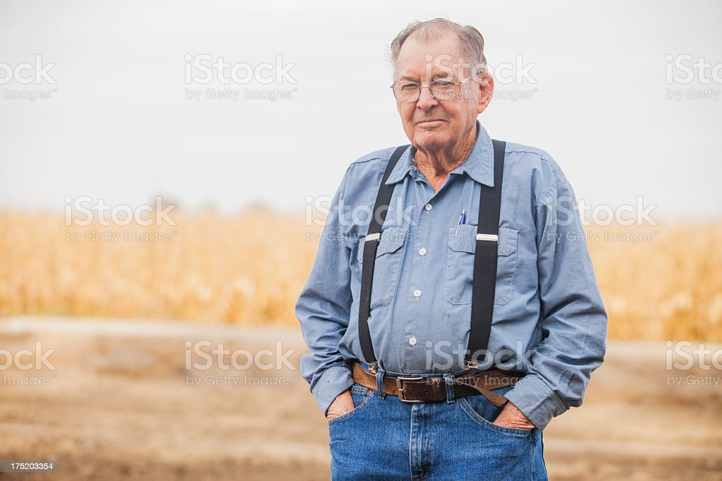 Real Farmer Looking at camera stock photo