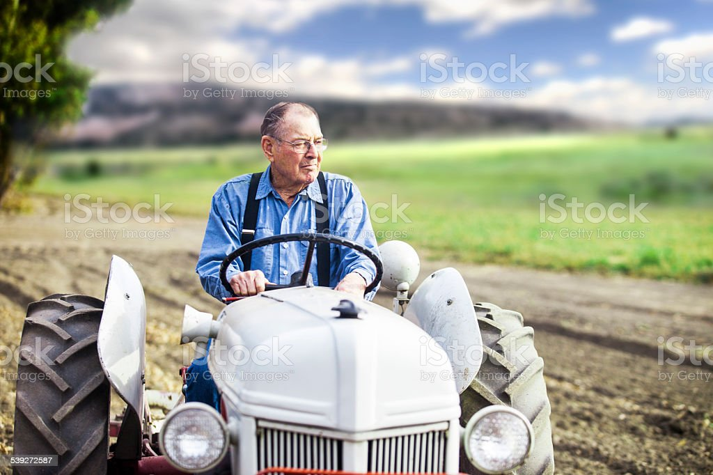 Real Farmer on Tractor stock photo