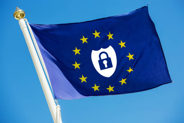 Real flag of European Union with safe icon about new european law inside stock photo