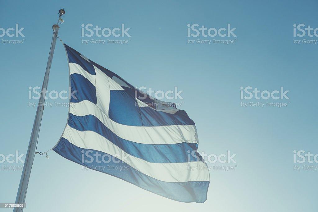 Real Grecia bandera y cielo nadie - foto de stock