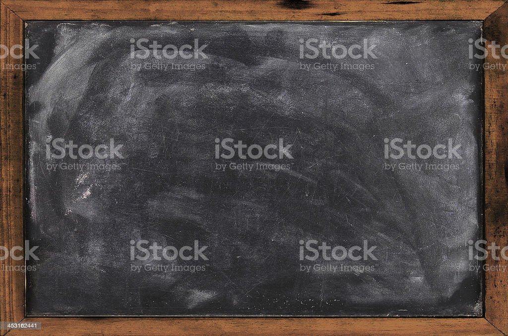 Real grunge blank blackboard copyspace with wood frame royalty-free stock photo