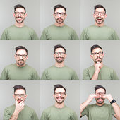 Nine square portraits of the same guy with different facial expressions.
