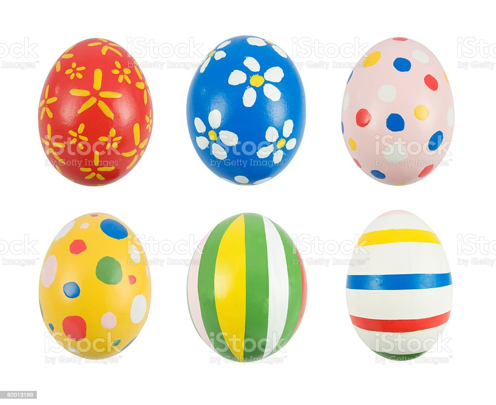 Real hand painted Easter eggs stock photo
