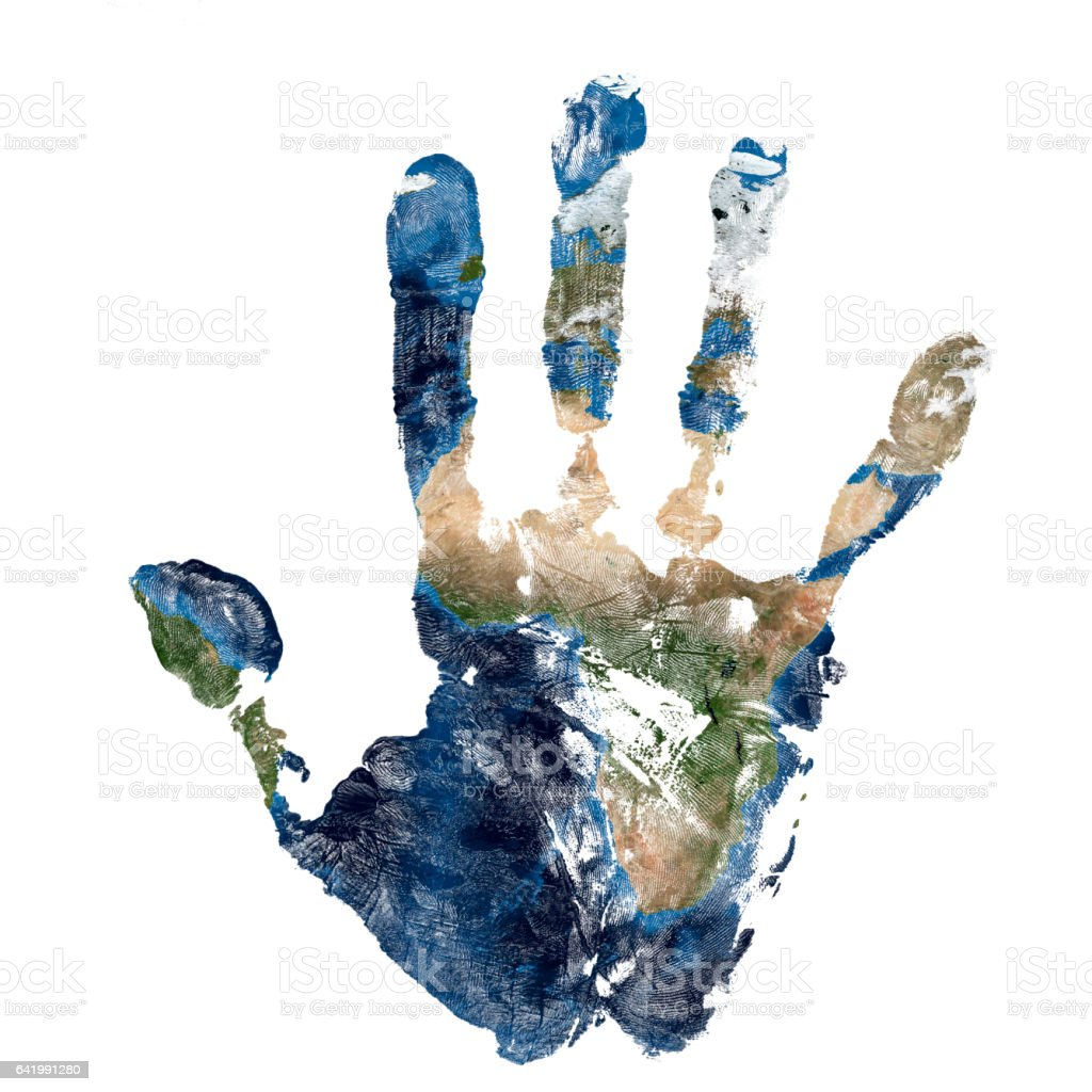 Real hand print combined with a map of Africa of blue planet Earth. Elements of this image furnished by NASA stock photo