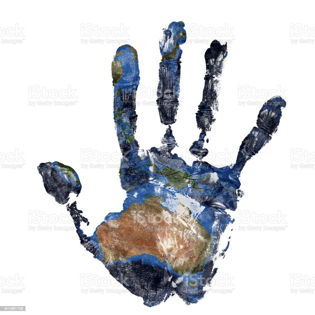 Echte Handabdruck in Kombination mit einer Karte von Australien unseres blauen Planeten Erde. Elemente dieses Bildes, eingerichtet von der NASA – Foto