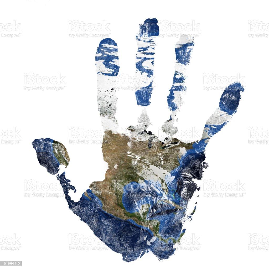 Wirkliche Hand print in Kombination mit einer Karte von Nordamerika - unseres blauen Planeten Erde. Elemente dieses Bildes, eingerichtet von der NASA – Foto