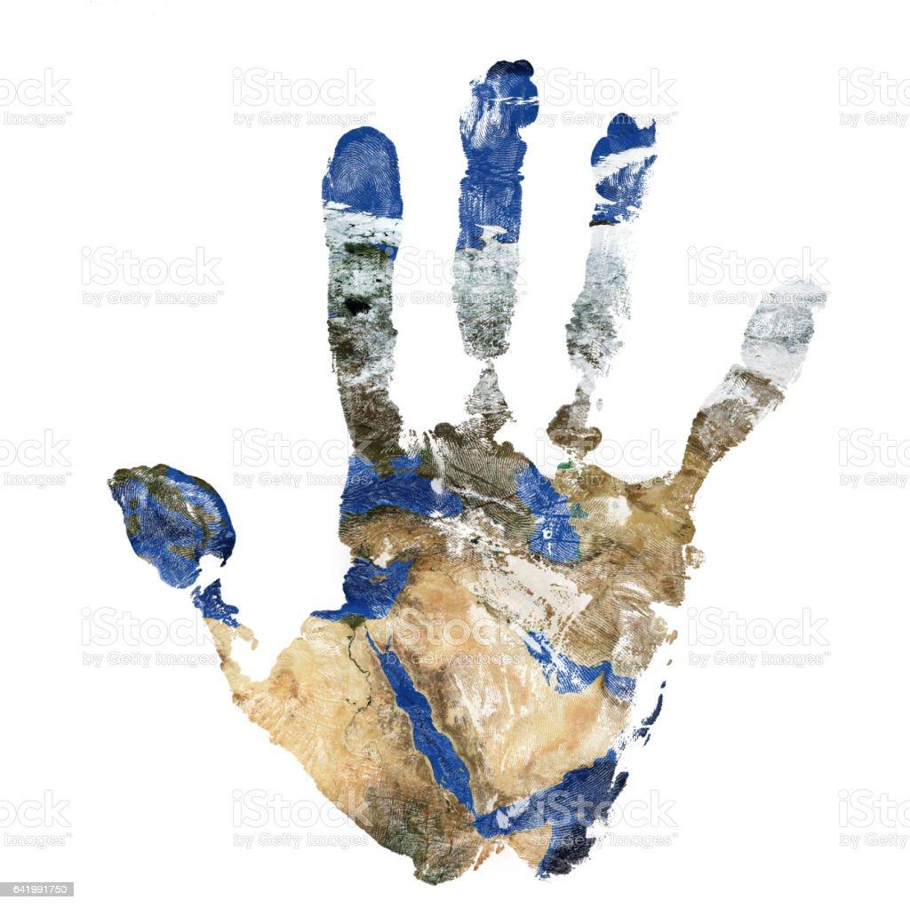 Echte hand print in Kombination mit einer Karte des Nahen Ostens - unseres blauen Planeten Erde. Elemente dieses Bildes, eingerichtet von der NASA – Foto