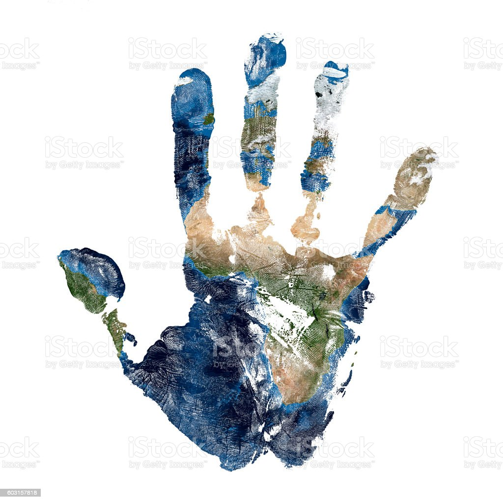 Real hand print with a map of our planet Earth stock photo