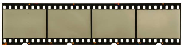 real high-res scan of an 35mm filmstrip on white background stock photo
