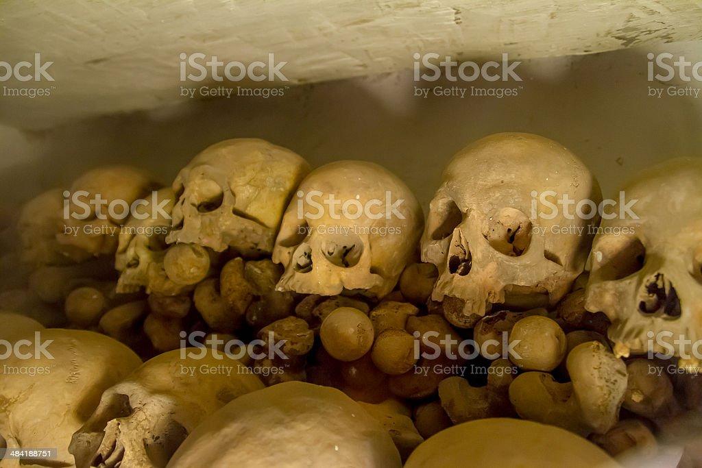 Real human skulls in Lima, Peru stock photo