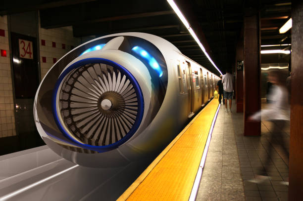 Real Hyperloop Train Station and Passengers New generation transportation system in the speed tube. Some parts of the New York subway will be renewed and transformed into Hyperloop stations in the near future.  I took this photo in 2012 during my trip to New York. Here is a photo manipulation. Another subway photo I took in New York is on istock. File number: 843771740 bullet train stock pictures, royalty-free photos & images