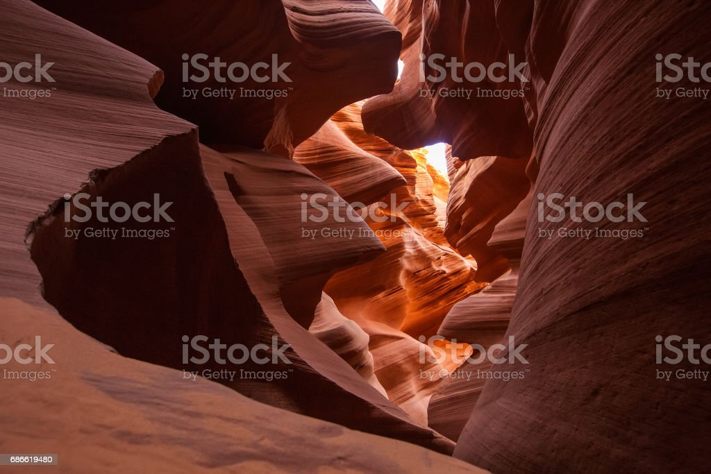 Real images of the lower Antelope canyon in Arizona, USA royalty-free stock photo