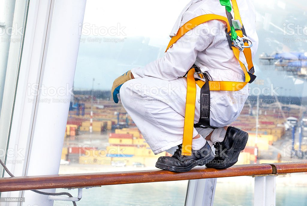Real industrial Window cleaner stock photo