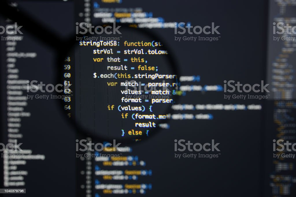 Real Java Script Code Developing Screen Programing Workflow Abstract